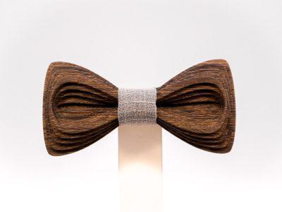 SÖÖR Antero neckwear in wenge with light grey fabric. Uniikki puinen rusetti miehille jolla on jo kaikkea
