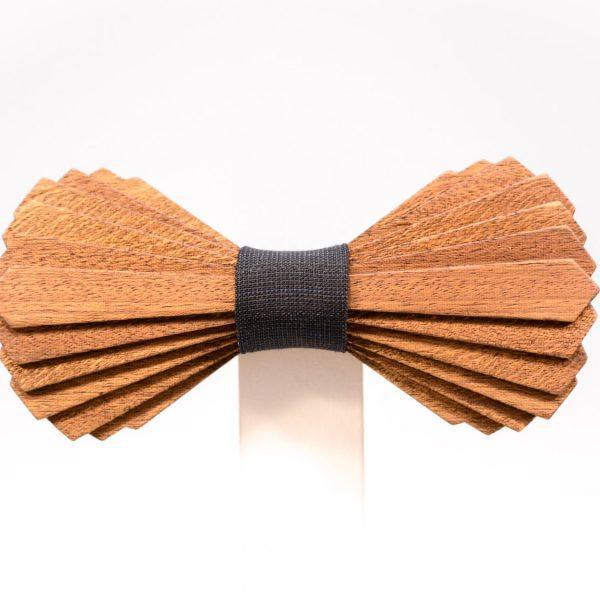 SÖÖR Elias neckwear in birch and mahogany with dark grey fabric. A unique wooden bowtie for men