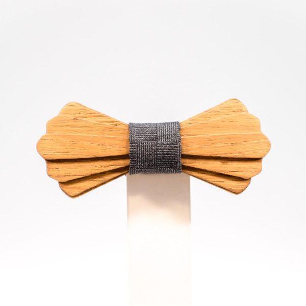 Jr. SÖÖR Elias neckwear in teak with dark grey fabric. A unique wooden bowtie